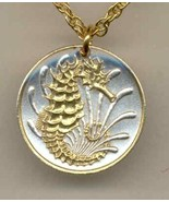 Singapore 10 cent Gold on Silver Coin Jewelry Pendant Necklace - $50.00