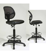 Mesh Back VINYL Seat Drafting Chair Adjustable Round Footrest Bar Stool ... - $144.99