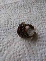 Vintage Shell Cameo Ring Open Marked W.Germany Adjustable 4-6 Hand Carved Rose G image 3