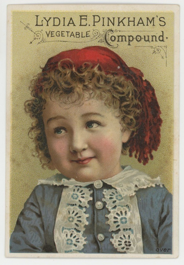 Lydia Pinkham's vegetable compound Victorian trade card advertising Hower Belfas