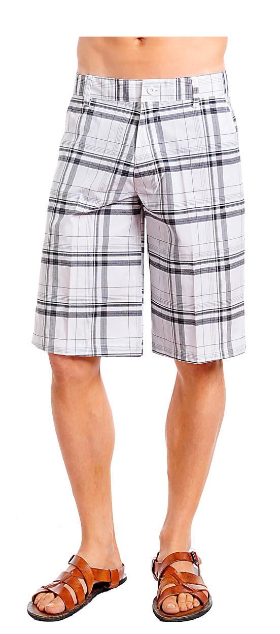Men's Grey/Gray and White Plaid Shorts