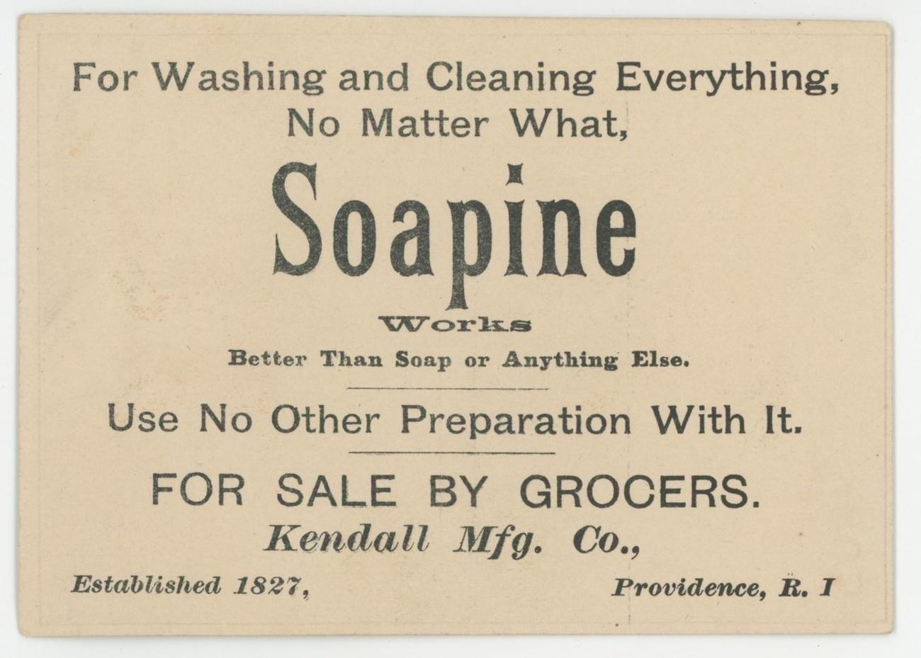 Soapine washing Victorian trade card Kendall Providence RI advertising sailor