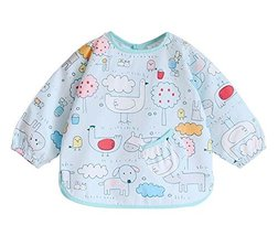 (Blue Animals) Kid's Waterproof Feeding Bib Painting Smock, 6-12 Months