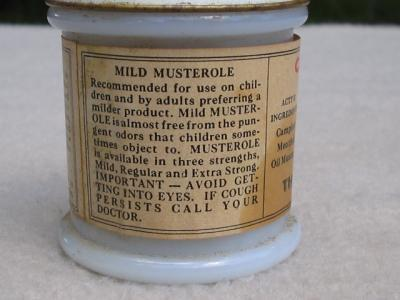 Vintage Jar of Children's Mild Musterole Milk Glass