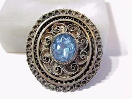 PRETTY FILIGREE PIN PENDANT BLUE GLASS CENTER GEM VINTAGE OLD CHARMING S... - $26.00