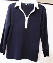 RALPH LAUREN Knit Shirt Top LRL LOGO 3/4 Sleeve Navy w White Collar Wome... - $19.74