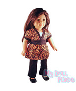Doll clothes fit American Girl * Leopard Outfit Tunic Top & Black Jeans Cheetah - $16.99
