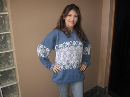 Casual Sweater knitted of alpaca wool, blue and white - $113.70