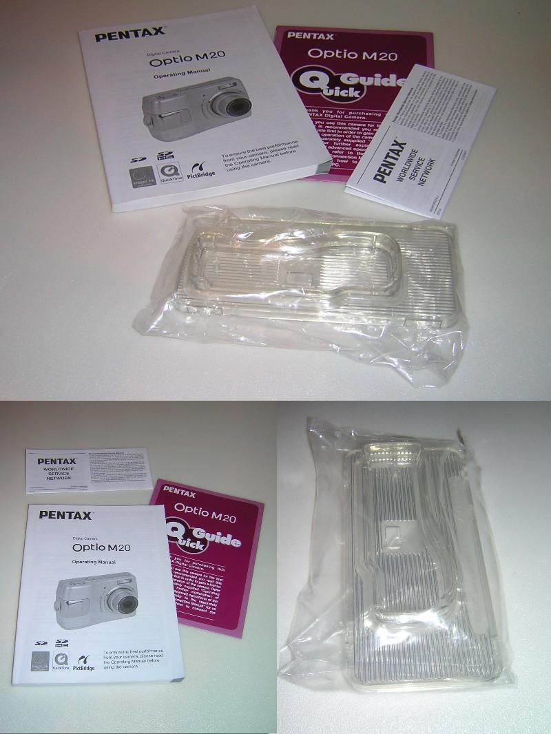 Pentax Optio M20 Camera Manuals and Plastic Docking Adapter