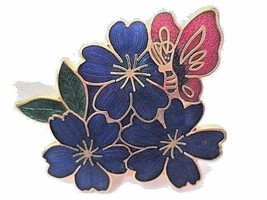 ENAMEL CONTEMPORARY BLUE FLOWERS WITH BUTTERFLY 1980'S PIN FASHION FLORAL - $26.00