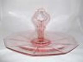 Cambridge Decagon Tidbit Sandwich Tray Pink Depression Glass Center Handle Vtg - $32.99