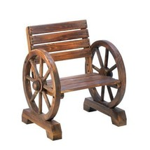 Outdoor Chair, Small Wooden Wagon Wheel Lounge Furniture Patio Chair Seat - $128.49