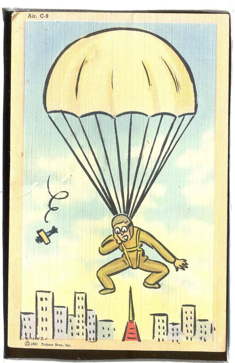 Milatary Comic parachuting into a city  1.26