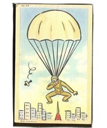 Milatary Comic parachuting into a city  1.26 - $6.00