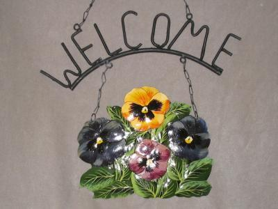 Pansy Pansies Metal Garden Home Welcome Sign