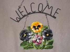 Pansy Pansies Metal Garden Home Welcome Sign - $9.99