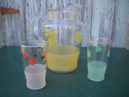 Colorful Glass Tulip Pitcher w IceLip & Glasses Ice Lip  - $9.99