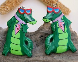 Vintage Alligator Florida Gator Fan Wood Earrings Handmade - $18.95