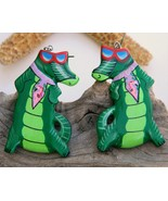 Vintage Alligator Florida Gator Fan Wood Earrin... - $18.95