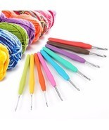 9Pcs Aluminum Crochet Hooks Knitting Needles Craft Set with Plastic Handle - $8.82 CAD