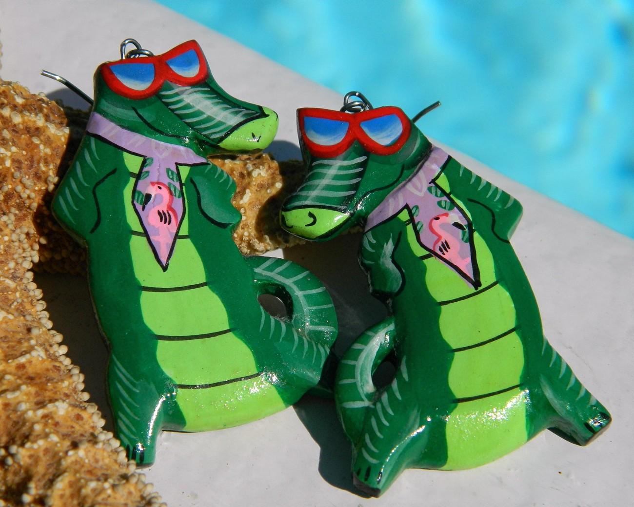 Vintage Alligator Florida Gator Fan Wood Earrings Handmade