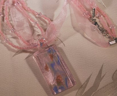 Pink Ribbon Choker Glass Pendant