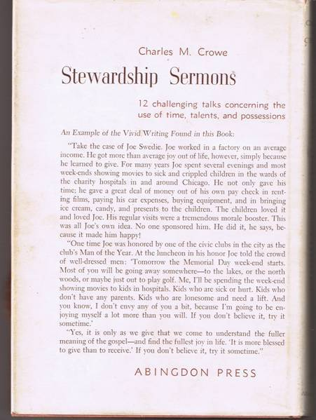 Stewardship Sermons - Charles M. Crowe - Hardback (1960)