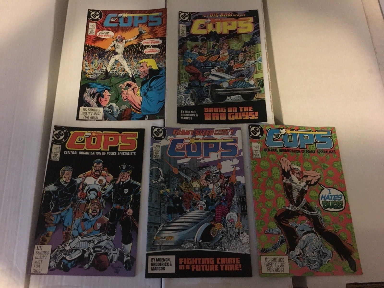 COPS #1 - 5 DC Book Lot / Run Of 5 1988 VF - VF+ Condition Central Orginization