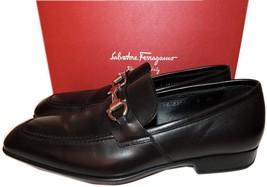 $595 Salvatore Ferragamo Pompei Bit Loafer Moccasin Black Leather Shoes 8 2E - $294.00