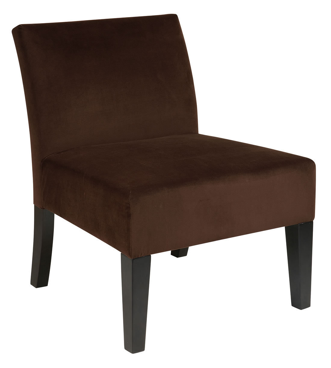 Ave Six Laguna Armless Living Room Accent Chair Chocolate