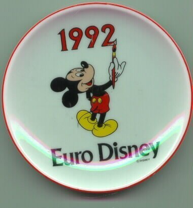 Euro Disney with Mickey Mouse dated 1992 Plate