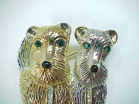 Two Cuddly Terrier Puppies Rhinestone Pin Brooch - Green Rhinestone Eyes