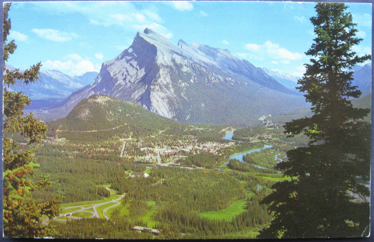 Double L, Full Bleed Postcard, Mt Rundle and Banff, AB, Cana