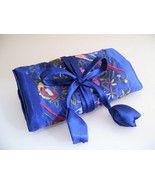 Silk Jewelry Roll Makeup Brush Accessories Case Royal Blue  - $10.00