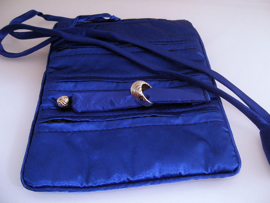 Silk Jewelry Roll Makeup Brush Accessories Case Royal Blue