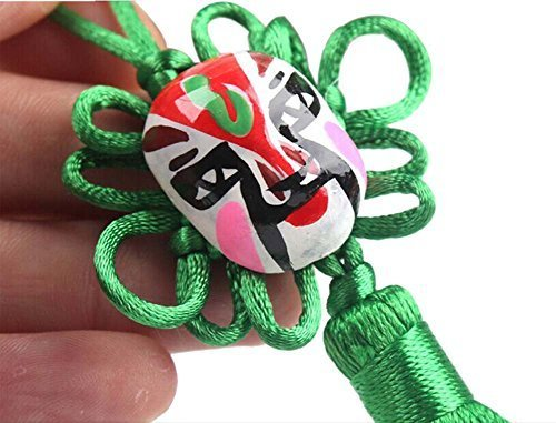 PANDA SUPERSTORE 2 Pieces Creative Car Ornaments Chinese Knot Pendant, Green
