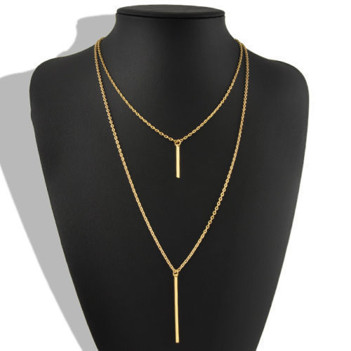 USA Womens Bohemian Gold Plated Long Sweater Chain Vertical Bar Pendant Necklace