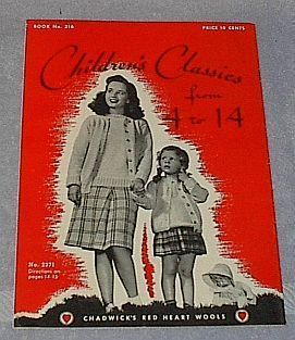 Vintage 1944 Chadwick's Red Heart Wools Children's Classics