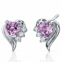 1.5ct Heart Pink Sapphire Sterling Silver Stud Earrings - $27.97