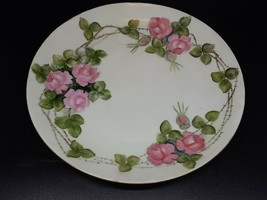 "Rosenthal hand painted plate pink flowers on green fine condition 8"" - $25.00"