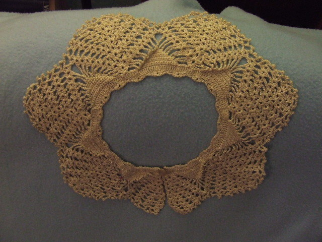 Handmade Crocheted Lacy Collar gold cotton thread Vintage