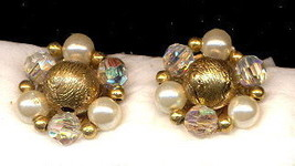 Vintage Lisner Crystal & Bead Earrings - $5.95