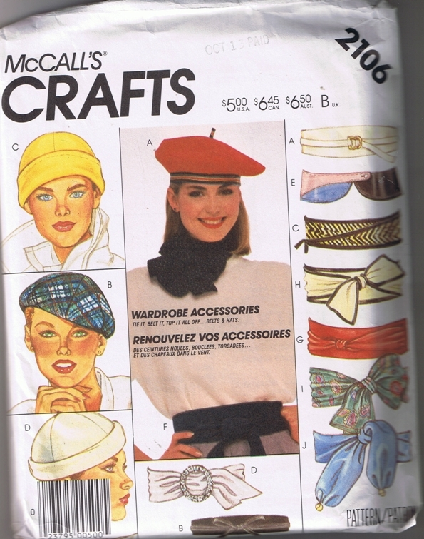 McCall's 2106 Misses Hat and Belt Accessories - Factory Fold