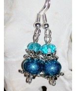NEW Aqua Blue Rondelle Dangle Glass Bead Silver-Plated Frenchback Earrin... - $4.00