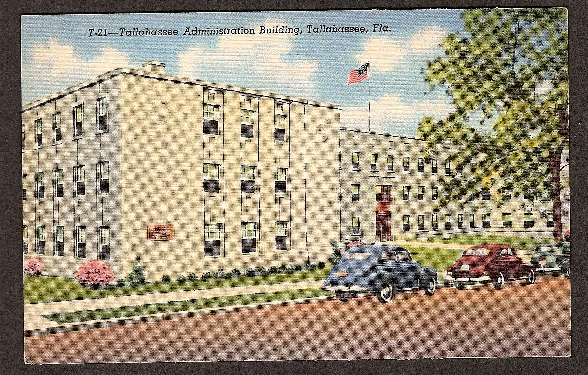 Tallahassee FL Administration Building unused postcard 1940s linen