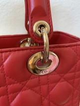 AUTH Christian Dior Lady Dior Medium RED Cannage Lambskin Tote Bag GHW image 7