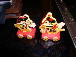 Disney Mickey and Minnie Wood hand painted 2 Ornaments  Figurines - $19.33