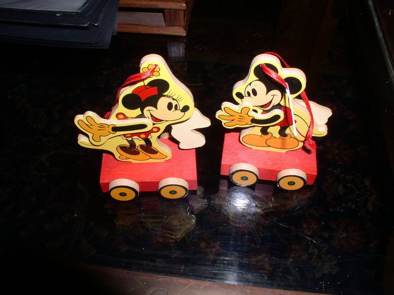 Disney Mickey and Minnie Wood hand painted 2 Ornaments  Figurines