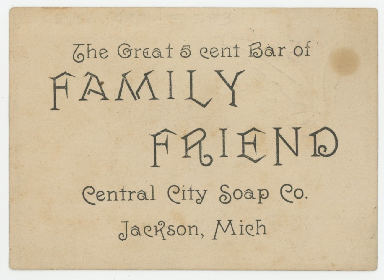Central City Soap Victorian trade card Jackson Michigan Xmas scene advertising