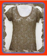 NEW MED  LACE  BROWN STRETCH LONG TEE SHIRT TOP BLOUSE TUNIC - $22.75